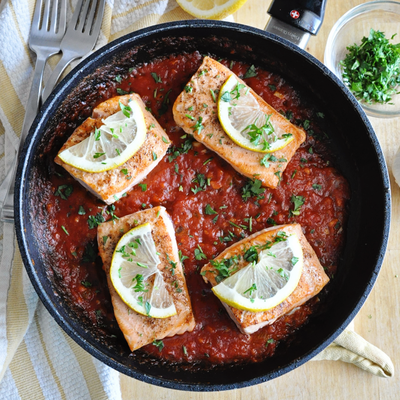 Pan Grilled Spanish Salmon with Tomato Sauce