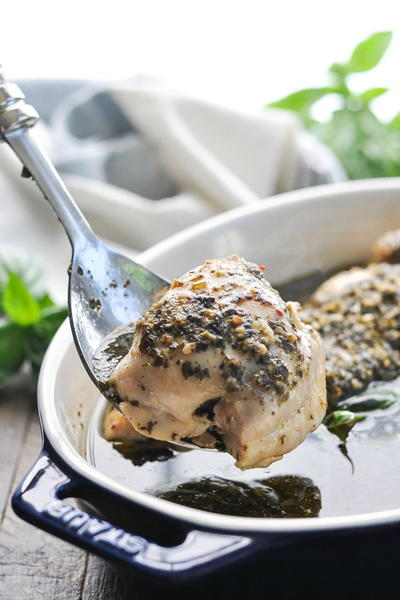 Dump-and-Bake Pesto Chicken