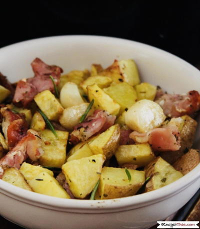 Air Fryer Garlic Potatoes With Bacon