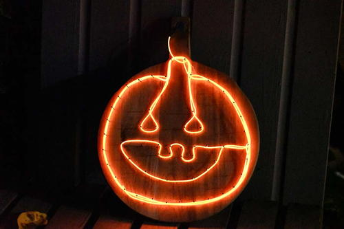 Upcycled Illuminated Jack-O-Lantern