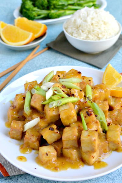 Crispy Air Fryer Tofu with Sticky Orange Sauce