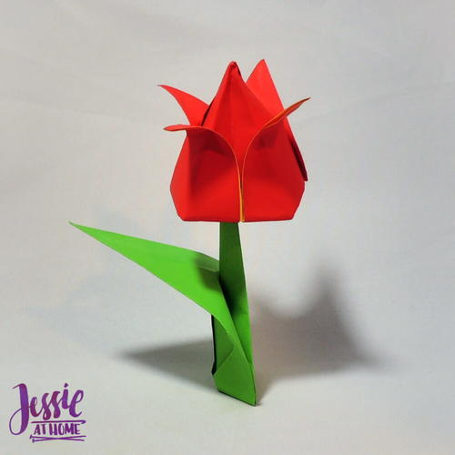 Origami Flower Stem and Leaf