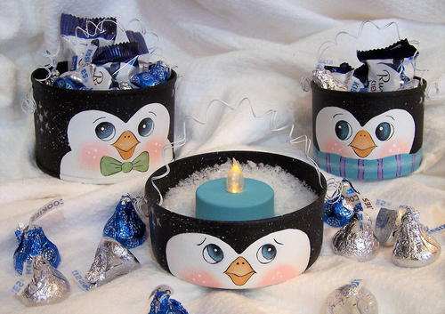 Uncanny Penguin Tin Can Treat Holders