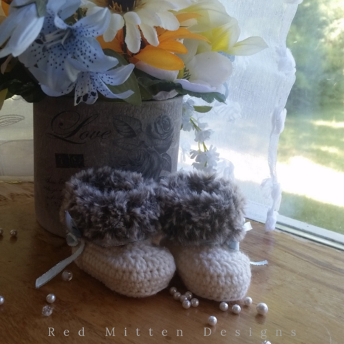 Faux Fur and Wool Baby Booties
