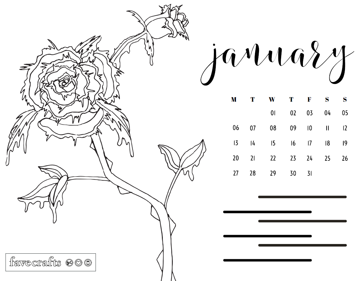 Frosted Rose January 2020 Printable Coloring Calendar Page