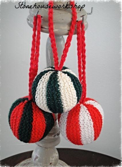 Hand Knit Ball Ornament