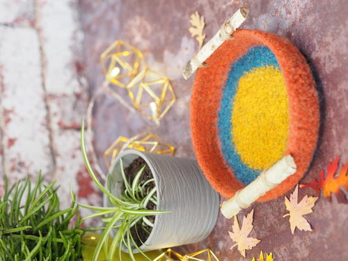 Rustic Felted Bowl with Handles