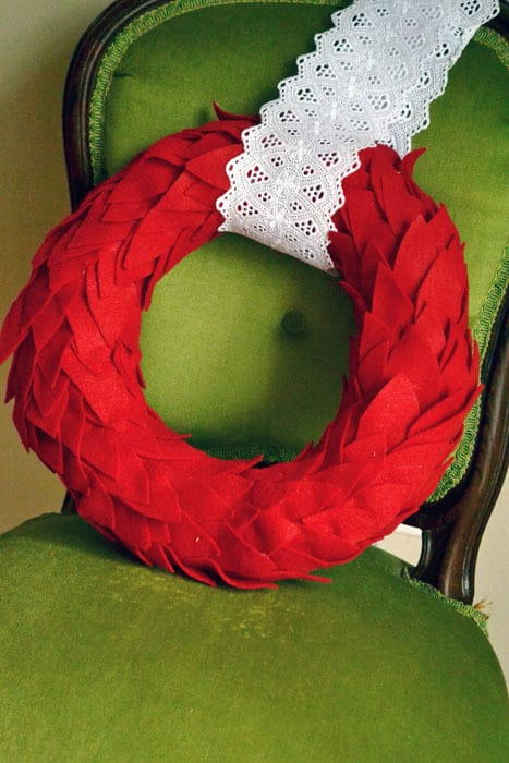 Lace and Felt Leaves Wreath