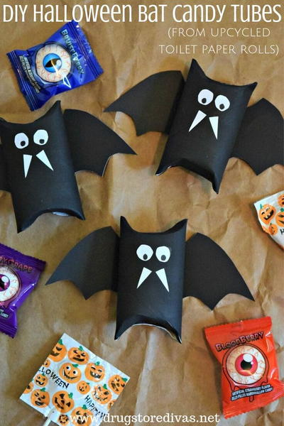 DIY Halloween Bat Candy Tubes