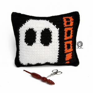 Mad About Boo Crochet Halloween Pillow