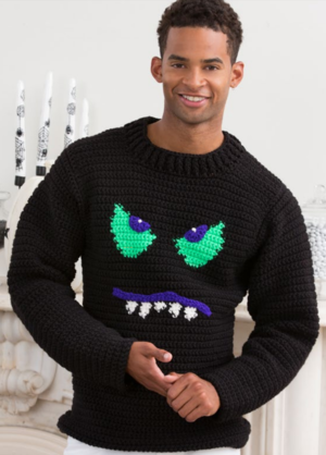 Monster Face Crochet Sweater