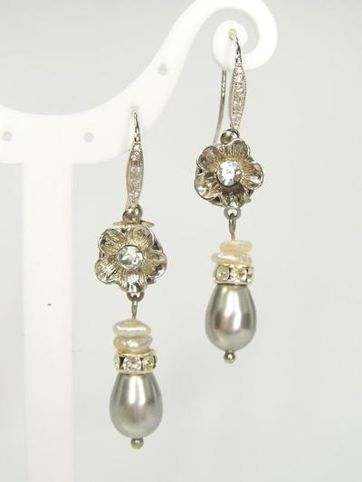 Lustrous Pearl and Crystal Earrings