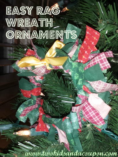 Easy Rag Wreath Christmas Ornaments
