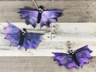 Coffee Filter Bats Halloween Craft for Kids