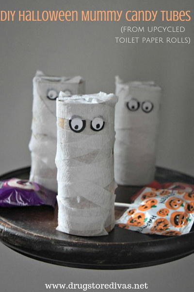 DIY Halloween Mummy Candy Tubes