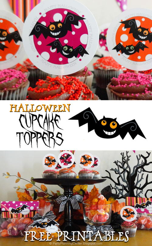Printable Halloween Bat Cupcake Toppers