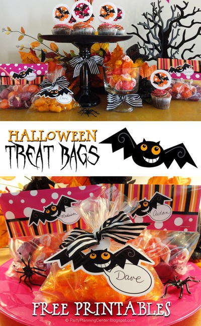 Printable Halloween Treat Bag Toppers and Label