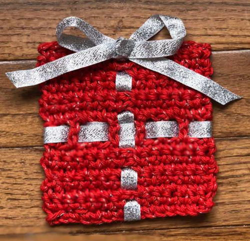 Crochet Christmas Present Coaster