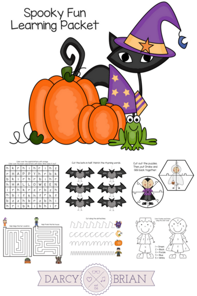 Printable Spooky Fun Learning Packet for Halloween
