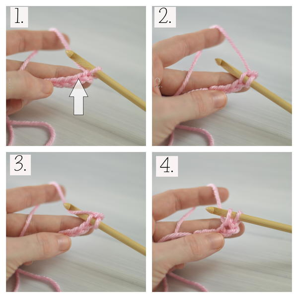 Image shows four squares showing the process of how to Tunisian crochet.