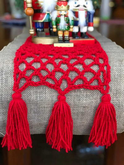 Festive Christmas Crochet Table Runner