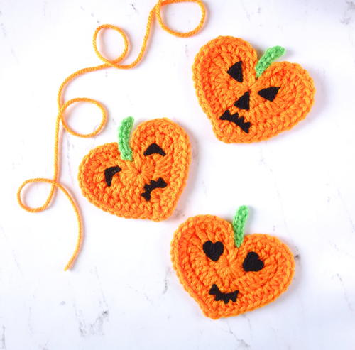 Crochet Heart Pumpkin Jack-O'-Lantern Applique