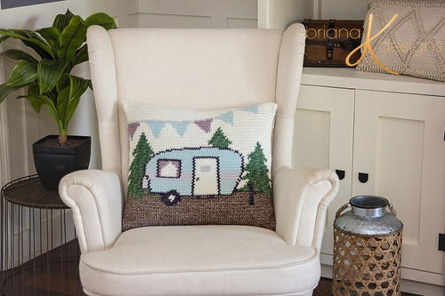 Camper Crochet Pillow Cover