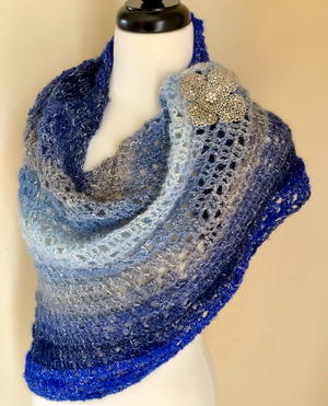 Gem of the Sea Asymmetrical Crochet Shawl