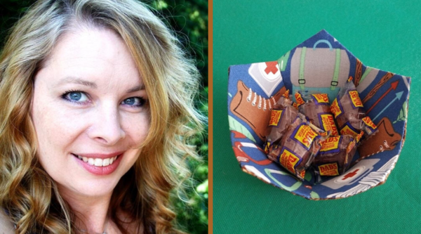 Image shows Staci on the left and the Fabric Pentagon Bowl on the right.