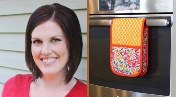 Image shows Ashley on the left and the Double Pot Holder with Pockets on the right.