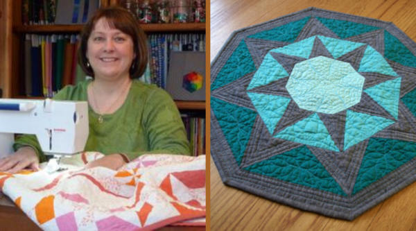 Image shows Lori on the left and the Stardrop Table Topper on the right.