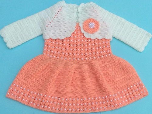 Baby Pearl Dress Jacket Crochet Baby Frock with Bolero Jacket