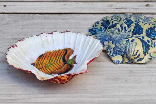 DIY Decoupage Shell Trinket Dishes