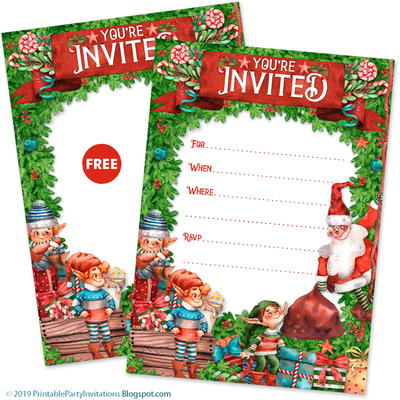 Printable Santa and Elves Invitations