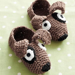 Pound Puppy Crochet Slippers