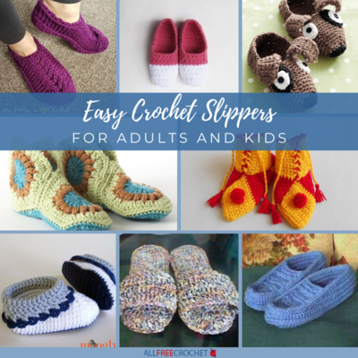 Easy Crochet Slippers for Adults and Kids
