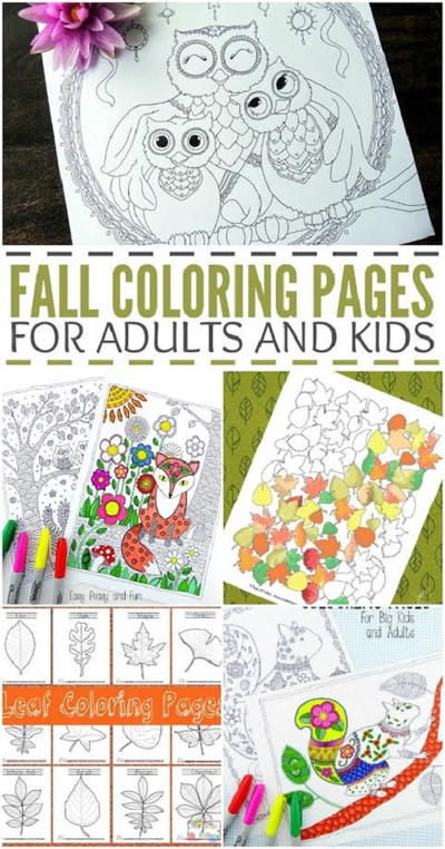 Free Fall Coloring Pages for Kids and Adults