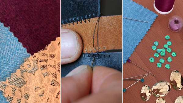 Image shows three pictures. Fabric on the left, hand sewing material in the center, and a variety of sewing notions on the right.