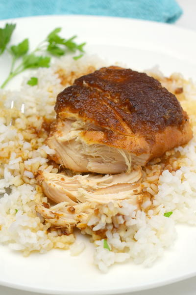 Slow Cooker Applesauce BBQ Chicken