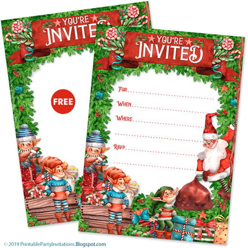 Free Printable Santa Holiday Invitations