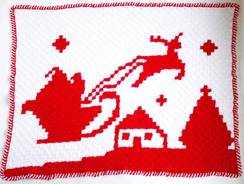 Santa & Reindeer Night Before Christmas C2C Graphgan