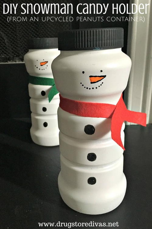DIY Snowman Candy Holder (from an upcycled peanuts container)