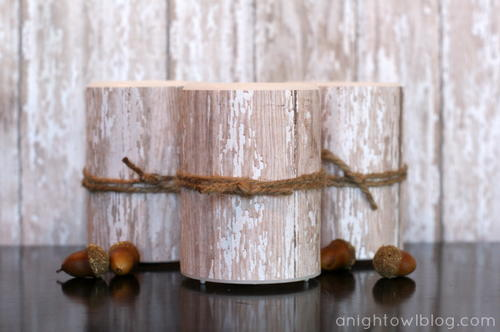 Faux LED Wood Candles