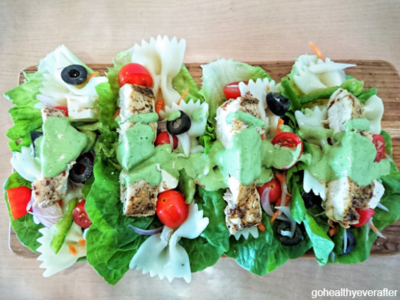 Lettuce wraps with chicken and pasta salad