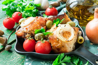Roasted Chicken with Bread and Garlic