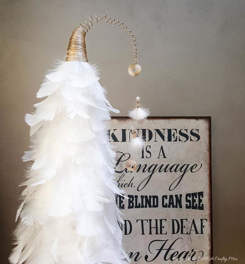 Easy Tabletop Feathered Christmas Tree