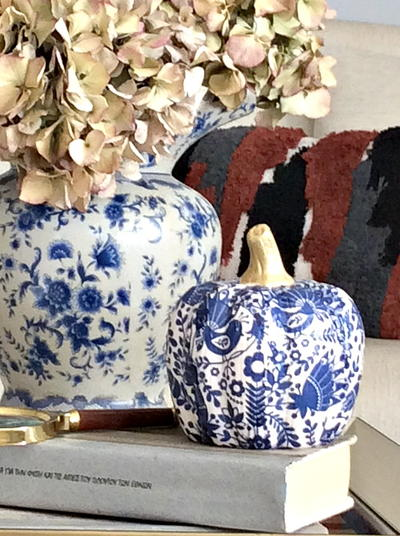 Chinoiserie Style Blue and White Pumpkins DIY