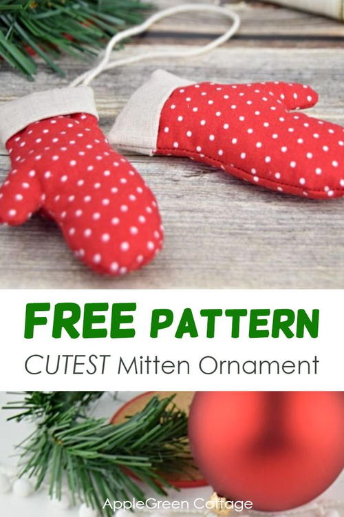 The Cutest Mitten Ornament - Free Pattern in 3 Sizes
