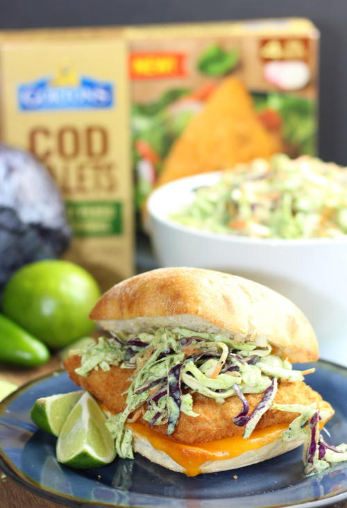 QUICK & EASY RECIPE FISH SANDWICHES WITH CRUNCHY CILANTRO LIME SLAW