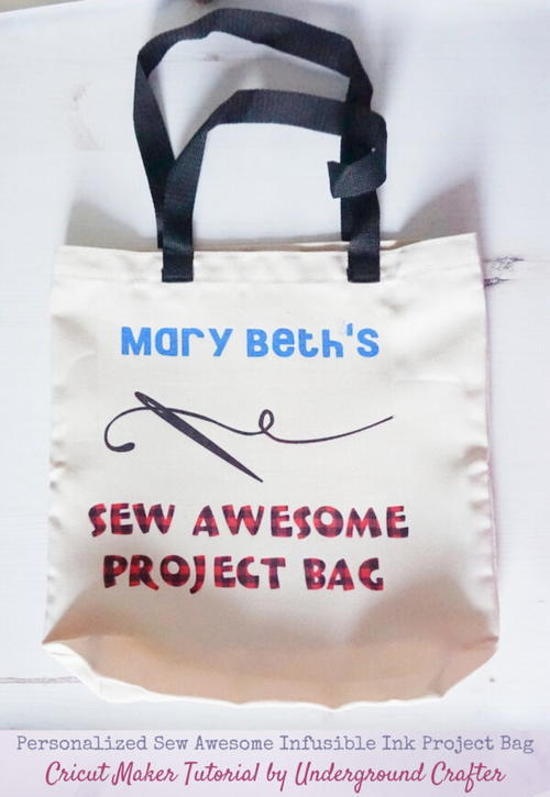 Personalized Sew Awesome Project Bag with Cricut